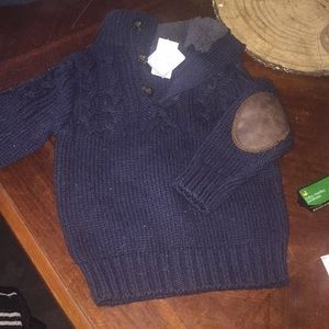 New boys knit sweater with leather elbow patches